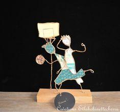 figurine poétique ficelle papier, cadeau pour joueurs supporteurs de basket : Accessoires de maison par etlabobinettecherra