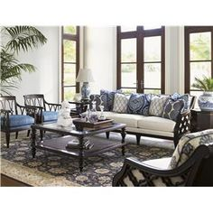 Royal Kahala Bay Club Exposed Wood Sofa with Quatrefoil Design by Tommy Bahama Home - Johnny Janosik - Sofa Delaware, Maryland, Virginia, Delmarva