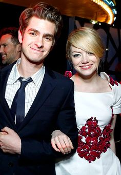 Emma Stone and Andrew Garfield. I freaking love them!! They are so stinking cute!!