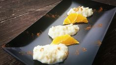 Orange rice pudding.