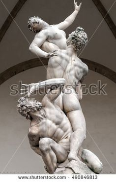 FLORENCE,ITALY - MAY 1 CIRCA : The Rape of the Sabine Women statue by Giambologna, in the Loggia dei Lanzi tells an episode in the legendary history of Rome, traditionally dated to 750 BC.