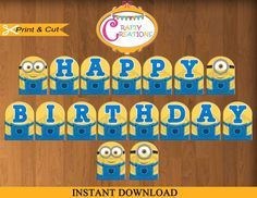 Despicable Me Banner Printable Minions by CraftyCreationsUAE