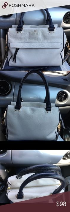 "♠️Kate Spade♠️Grant Park Hadlen Satchel ♠️Kate Spade♠️Grant Park Hadlen Satchel in Cement/Navy  Good condition.Cowhide with matching trim.Top handle bad with shoulder strap and zip to closure.Interior zip pocket and double slide pocket.Exterior zipper compartment.Inside lining is clean.No damage,No tears.Top handles and long strap in good condition.Came from a smoke free and pet free home.I'm willing to negotiate through the offer button.  Size: 10"" W x 8.07"" H x 2.8"" D Drop length: 5.5""…"