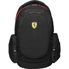 Ferrari Laptop Backpack - Black - Laptop Backpacks ($120) ❤ liked on Polyvore featuring bags, backpacks, black, day pack backpack, backpack shoulder strap pouch, laptop backpack, padded laptop bag and zip pouch bags