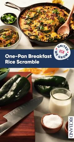 One Pan Breakfast Rice Scramble Torrone Recipe, Cilantro Herb, Long Grain Rice, Stuffed Poblano Peppers, Christmas Breakfast, Perfect Breakfast, Rice Dishes, Spice Things Up, Pasta Recipes