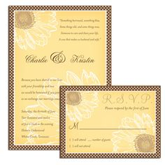Sunflower Wedding Invitations and RSVP cards (Set of 40). $70.00, via Etsy.