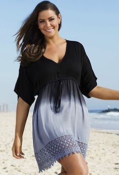 Fashion Bug Womens Plus Size Black/Grey Ombre Crochet Cover Up…
