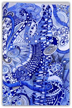 Original Zentangle Art Zentangle Drawing Original by PricklyPaw, $42.50