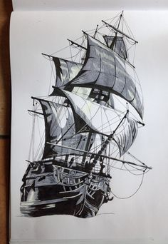 Pirate Ship Tattoos, Pirate Tattoo, Pirate Ship Drawing, Harry Tattoos, Old Sailing Ships, Desenho Tattoo, Nautical Art, Ship Art, Tall Ships