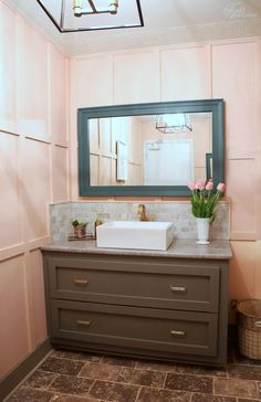 Restaurant Bathroom Makeover! The Chic Peach paint by PPG Voice of Color is so feminine and sweet, you can't help but feel pretty.