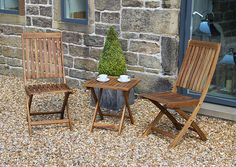 Paleros Acacia Wood Bistro Set includes 2 x Bistro Chairs and 1 x Table