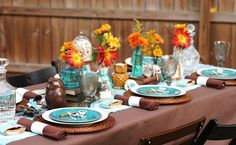 Thanksgiving Tablescape with Orange, Teal and Brown ~ Would look great for a wedding too!