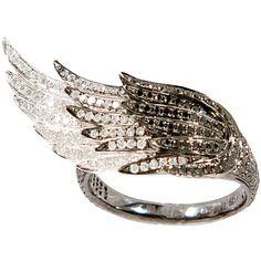 AS29 black gold, white gold, black diamonds and white diamonds Medium... found on Polyvore