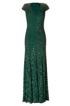 Silk Sequined Gown in Matador by JENNY PACKHAM