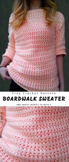Boardwalk Crochet Sweater with Free Pattern - Sweater crochet pattern - Bag Crochet, Black Crochet Dress, Crochet Woman, Crochet Cardigan, Crochet Clothes, Crochet Baby, Crochet Sweaters, Crochet Dresses, Crochet Tops