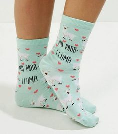 Shop Mint Green No Prob Llama Socks. Discover the latest trends at New Look. Llama Socks, Llama Llama, Latest Fashion For Women, Kids Fashion, Llama Gifts, Walk This Way, Top Shoes, Crew Socks, Mint Green
