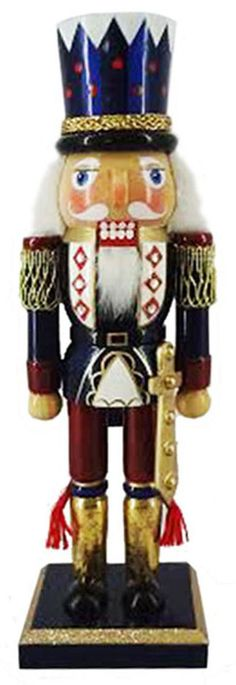 N1013: 10 inch Nutcracker in Blue and Gold with Top Hat