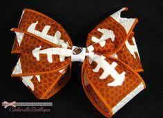 Handmade Football bow by CinderellaBowtique on Etsy, $3.50