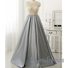 Elegant grey satins + see-through mesh long prom dress for teens, formal dress 2016