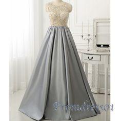 Elegant grey satins + see-through mesh long prom dress for teens, formal dress 2016