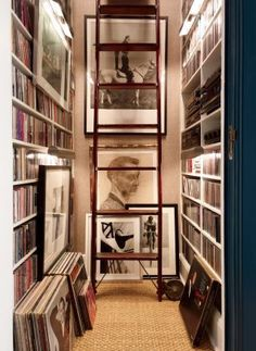 Vinyl records in cool music room