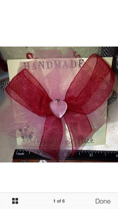 Red and pink charmed hair bow. Handmade by me.. Find us on eBay, FREE SHIPPING!!! #bunnyrootsbows