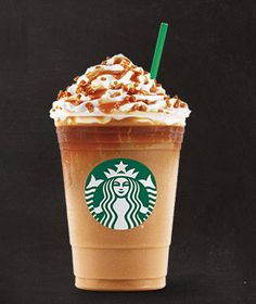 Caramel Ribbon Crunch Frappuccino!!!| buttery carmel syrup blended w/coffee,milk and ice.Topped w/a layer of dark carmel sauce sauce, whipped cream,carmel drizzle, and crunchy carmel sugar topping!!!//with NO COFEE