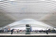 Architecture Gare des Guillemins Liège - Santiago Calatrava - Quais Toit voute en verre                                                                                                                                                                                 Plus