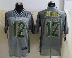 Men's NFL Green Bay Packers #12 Rodgers Grey Vapor Elite