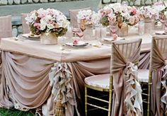 All about wedding table décor ideas and creative table decoration photographs for those getting married soon. Plan your dream wedding. Over 20 Gorgeous photographs of wedding event table center pieces Wedding Reception Chairs, Wedding Table Linens, Wedding Table Decorations, Wedding Table Settings, Decoration Table, Banquet Decorations, Reception Ideas, Place Settings, Wedding Ceremony