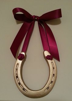 gold horseshoe w satin cranberry bowequestrian by LuckyPonyShop