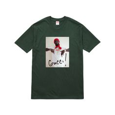 Supreme Gucci Mane Tee (295 DKK) ❤ liked on Polyvore featuring tops, t-shirts, shirts, gucci tee, t shirt, shirt top, gucci top and gucci t shirt