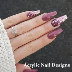 Elegant Purple Glitter Casket Nails Inspirations + Tips – Page coffin acrylic nails elegant - Coffin Nails Mauve Nails, Purple Nail, Purple Tips, Gradient Nails, Red Purple, Classy Nails, Simple Nails, Elegant Nails, Stylish Nails