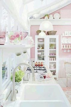 Would love to do a pink and lime green kitchen for a beach house .....