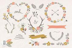 Check out Folk flower wreaths heart cream by GrafikBoutique on Creative Market