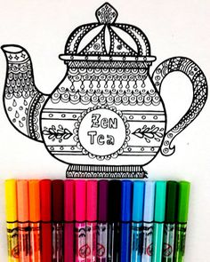 Zen Tea Colouring page, illustration for colouring with many possibilities of colors, its Art therapy! Attached we have 5 images for you print and