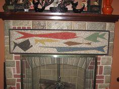 Mid Century Abstract Fish Gravel Art   eBay