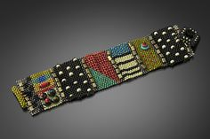 Bracelets Embroidery Mixy Cuff- Black with Brights by Julie Powell (Beaded Bracelet) - Embroidery Shop, Beaded Embroidery, Embroidery Designs, Loom Bracelets, Silver Bracelets, Bracelet Patterns, Beading Patterns, Bracelet Designs, Jewelry Patterns
