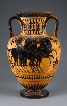 Attic Black-Figure Amphora.   Culture: Greek (Attic) - Athens, Greece,   about 520 B.C.  - Terracotta