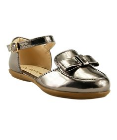 Take a look at this The Doll Maker Bronze Bow Ankle-Strap Flat today!