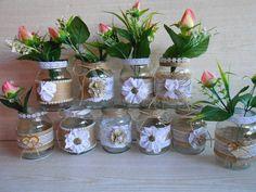 Conjunto de 10 jarra de arpillera de boda rústica decoración
