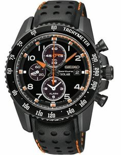 This sporty new Seiko Sportura Solar Alarm chronograph features a black case and leather strap with orange accents. The Solar movement charges in all types of light, is Eco-friendly and you will never