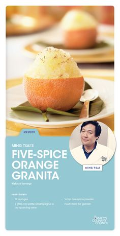 Looking for a dessert idea? Instead of ice cream, opt for Macy's Culinary Council Ming Tsai's stunning Five-Spice Orange Granita.