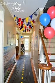 Great for entryway! GreyGrey Designs: {My Parties} Lachlan's Two-lladega Nascar Inspired Race Car Party!