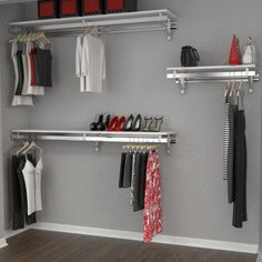 Orginnovations Inc Arrange a Space Heavy Duty - Closet System Finish: Maple Closet Rod, Closet Storage, Closet Organization, Organization Ideas, Closet Bedroom, Closet Space, Ideas Armario, Hanging Closet, Hanging Clothes Racks