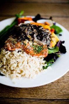 Grilled Salmon with Vegan Balsamic Mushroom Sauce