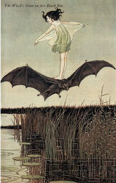 Ida Rentoul Outhwaite (Australian, 1888-1960). The Witch's Sister on her Black Bat. Illustration from The Enchanted Forest, 1921.