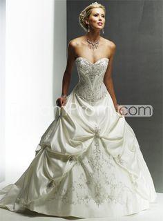 Gorgeous   A-Line Sweetheart Sleeveless Embroidery Satin Wedding Dresses
