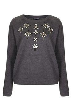 embellished cotton sweater / topshop
