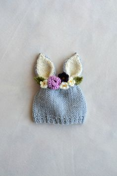 Months Bunny Hat - Bunny Floral Crown Hat - Purple Flower Hat - Easter Hat - Baby Bunny Hat - Ready to Ship Knitting For Kids, Loom Knitting, Knitting Projects, Baby Knitting, Crochet Projects, Diy Tricot Crochet, Crochet Baby, Knitting Patterns, Crochet Patterns